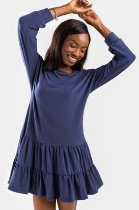 francesca's Beth Drop Waist Mini Dress - Navy
