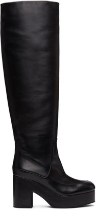 Dries Van Noten Black Leather Platform Tall Boots