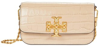 Tory Burch Eleanor Embossed Phone Crossbody (Perfect Sand) Handbags
