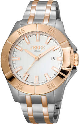 Ferré Milano Men's 45mm Stainless Steel Date 3-Hand Diver Watch with Bracelet, Steel/Rose