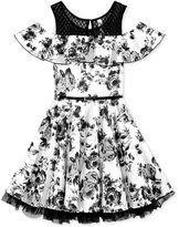 Beautees Ruffled Floral-Print Dress with Belt, Big Girls (7-16)