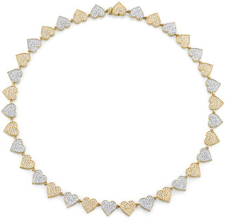 Sydney Evan Double Heart Eternity Necklace - Yellow and White Gold