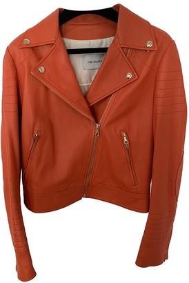 Yves Salomon Orange Leather Leather Jacket for Women
