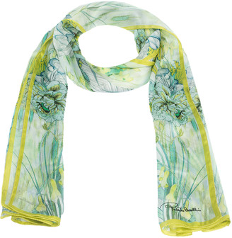 Roberto Cavalli Green Oriental Garden Print Silk Scarf