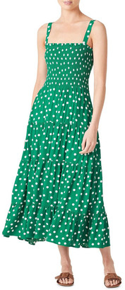 French Connection Spot Shirred Midi Dress Green