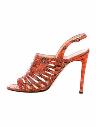 Alexandre Birman Python Animal Print Slingback Sandals Orange