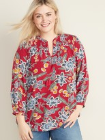 Old Navy Relaxed Plus-Size Split-Neck Boho Top