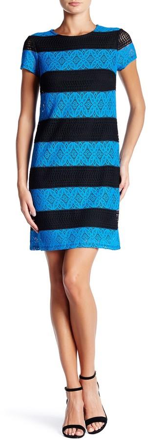 Maggy London Lace Stripe Dress