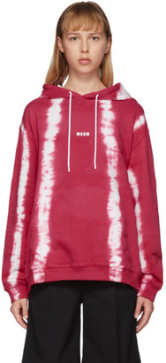 MSGM Pink Striped Tie-Dye Hoodie