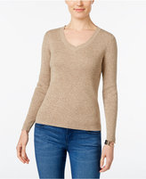 Karen Scott Petite Marled Ribbed Sweater, Only at Macy's