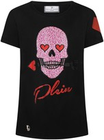 Philipp Plein Girls Black Diamante Skull Princess Top