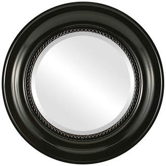 """The Oval And Round Mirror Store Heritage Framed Round Mirror in Gloss Black, 23""""x23"""""""
