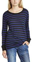 LnA Women's Nielson Long Sleeve Striped Crew Neck Long Sleeve Top