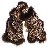 Black Fur Trimmed Leopard Print Cashmere Ring Shawl