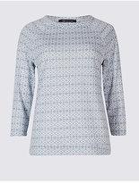 M&S Collection Geometric Print 3/4 Sleeve T-Shirt
