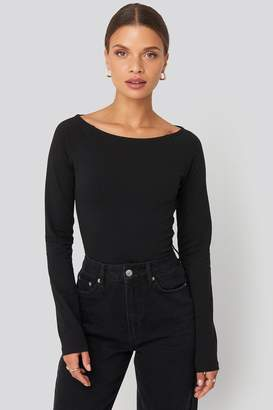 NA-KD Boat Neck Fitted Top Black