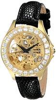 Burgmeister Merida Women's Automatic Watch with Gold Dial Analogue Display and Black Leather Strap BM520-202