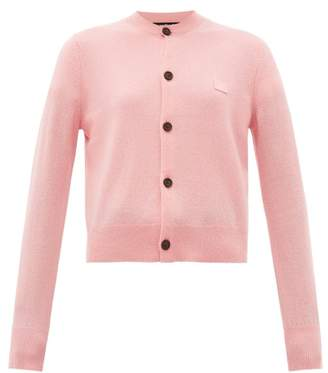 Acne Studios Keva Face Knitted Wool Cardigan - Womens - Light Pink