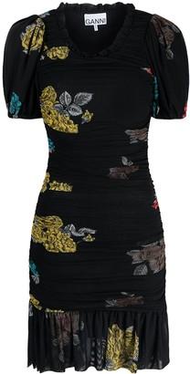 Ganni Ruched Floral Print Mini Dress