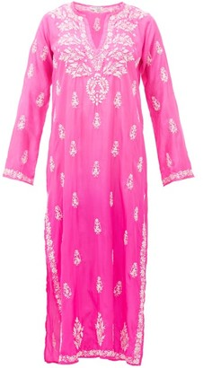 Juliet Dunn Sequin-embroidered Silk Kaftan - Womens - Pink