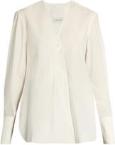 Lemaire V-neck cotton-poplin wrap shirt