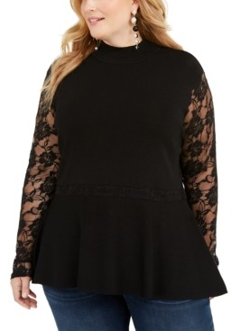INC International Concepts Inc Plus Size Lace Peplum Sweater, Created for Macy's