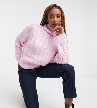 Reclaimed Vintage inspired high neck cable sweater in pink