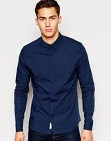 Calvin Klein Jeans Shirt In Poplin Slim Fit - Blue