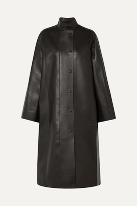 The Row Emely Leather Coat - Dark brown
