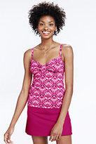 Lands' End Women's DD Cup Beach Living Shirred Tankini Top-Deep Pink Shell