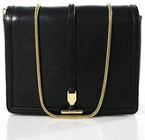 Pour La Victoire Black Leather Gold Accent Small Crossbody Handbag