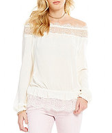 Jessica Simpson Frannie Lace-Trimmed Off-the-Shoulder Blouse