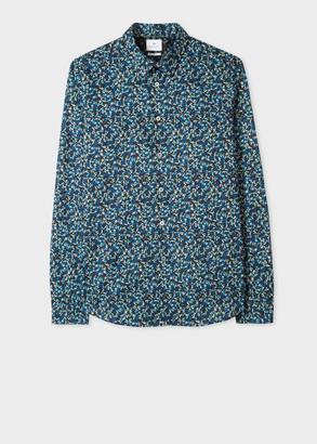 Paul Smith Men's Dark Navy 'Fox Camo' Print Cotton Shirt