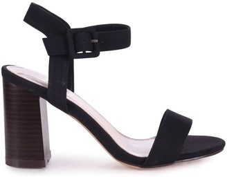 Linzi KATE - Black Nubuck Open Toe Stacked Block Heel With Ankle Strap