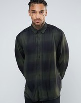 Asos Oversized Viscose Check Shirt In Khaki