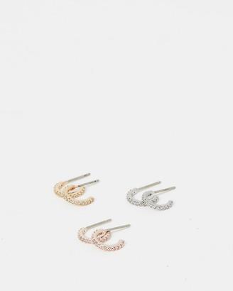 Express Set Of Three Cubic Zirconia Post Back Hoop Earrings