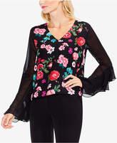 Vince Camuto Floral-Print Sheer-Sleeve Top