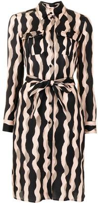 Paule Ka Wavy Stripe Print Shirt Dress
