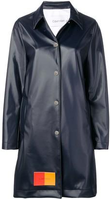 Calvin Klein Two-Tone Logo Patch Long Coat