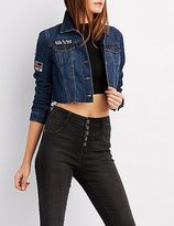 Charlotte Russe Patched Denim Cropped Jacket