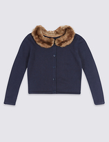 Marks and Spencer Pure Cotton Faux Fur Collar Cardigan (1-10 Years)