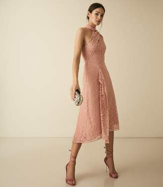 Reiss Stephie - Asymmetric Lace Dress in Blush