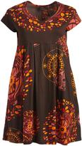 Aller Simplement Brown & Orange Geometric Notch Neck Dress - Plus Too