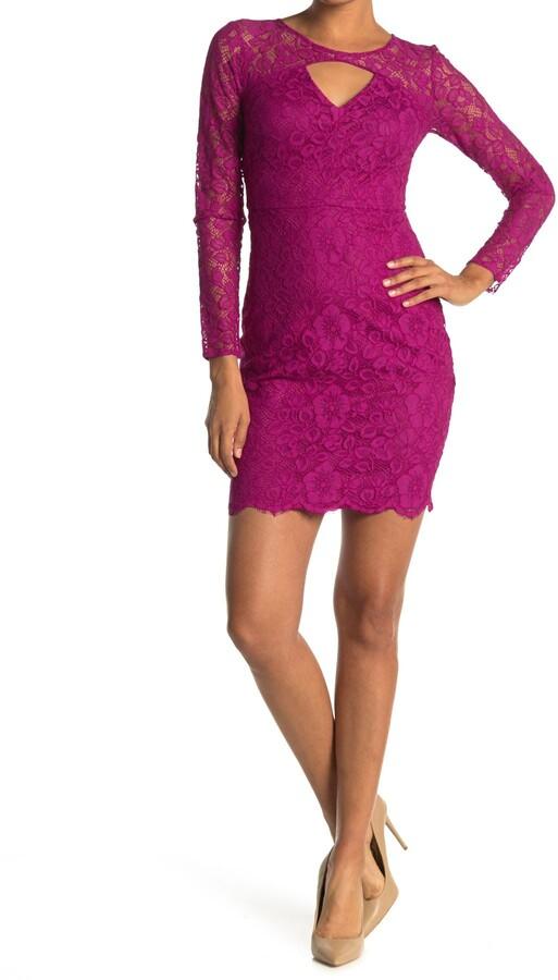 GUESS Keyhole Long Sleeve Lace Sheath Dress