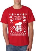 Allntrends Men's T Shirt Ho Ho Hodor Ugly Christmas Sweater Hodor Holiday (3XL, Sporty Grey)