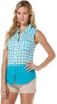 C&C California Dip dye gingham sleeveless shirt