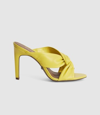 Reiss ELLA LEATHER TWIST FRONT HEELED MULES Yellow