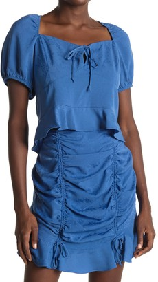 BCBGeneration Cropped Peasant Short Sleeve Woven Shirt