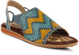 Spring Step L'artiste By L'Artiste by Women's Sandals TEAL - Teal & Yellow Zigzag Lailah Leather Sandal - Women