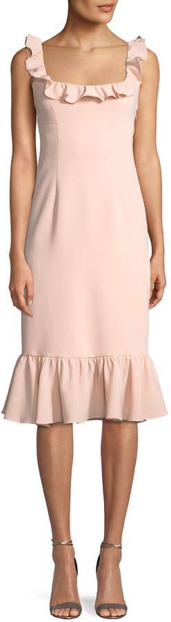 Cinq à Sept Opalina Square-Neck Flounce-Hem Cocktail Dress